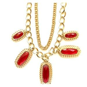 Park Lane Claret Necklace, Ruby red, New